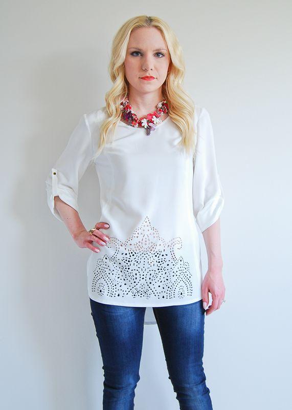 Moroccan Tendencies blouse // in White, Tangerine, & Lemon // $62