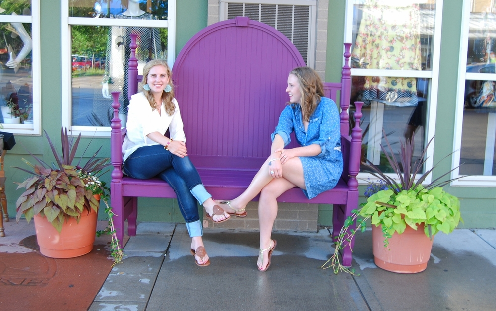 Kisa Signature Purple Bench // Staple outside the store during Minneapolis' summer months!
