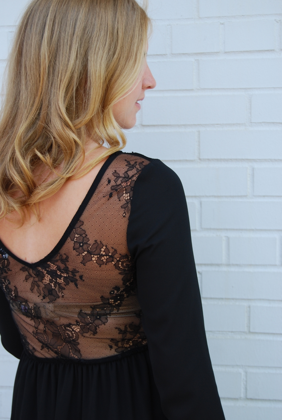 Ann in gorgeous Lace Back of the Flirty Day to Night Dress