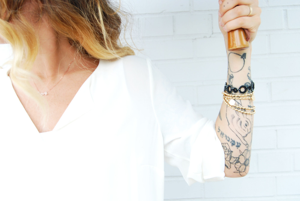 LOVE pendant necklace in rose gold $48 // OYA handmade lace bracelet $28  // Tess + Tricia Lux lotus wrap $75