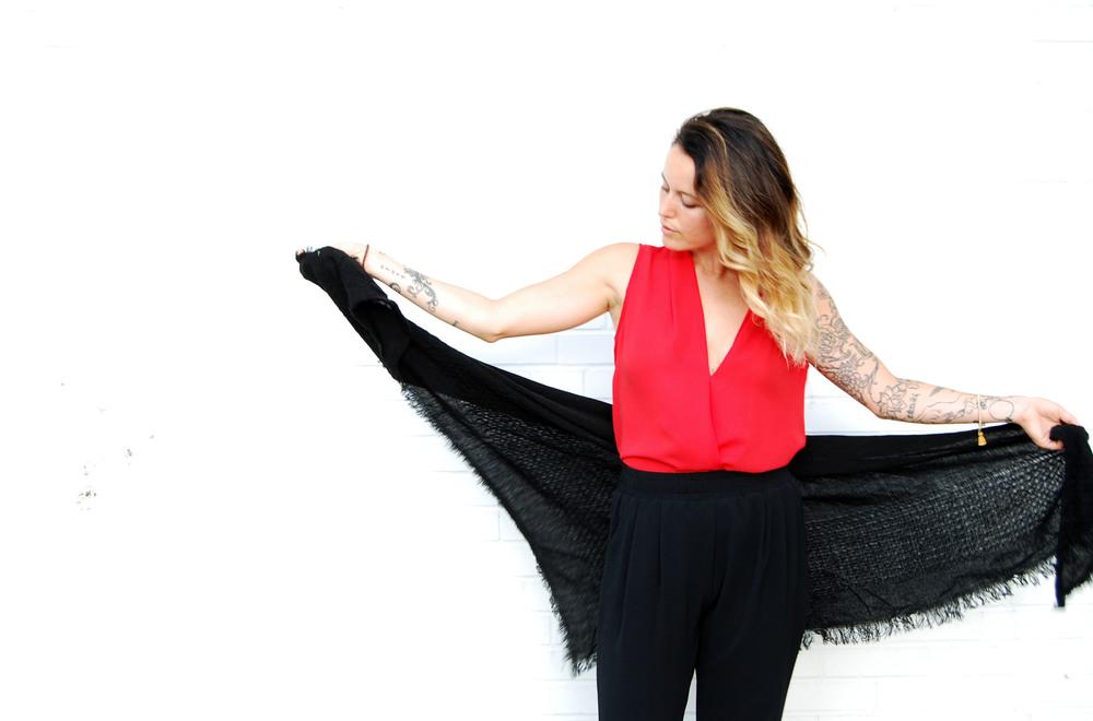 Fall woven scarf $24 // Tess + Tricia lux tassel bracelet
