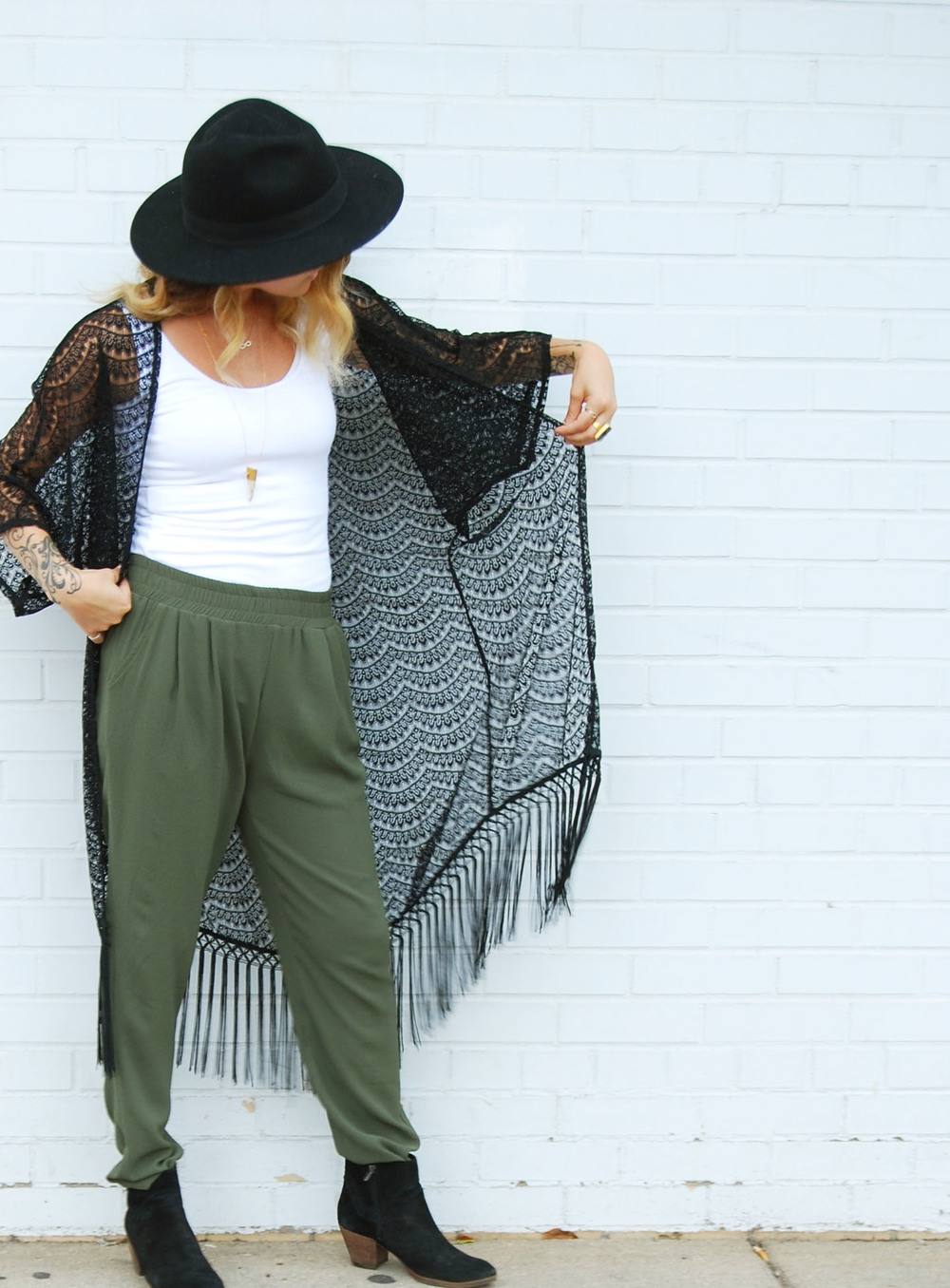 Lace kimono $94 // pleated pant in olive green $58 // best basic tank $13