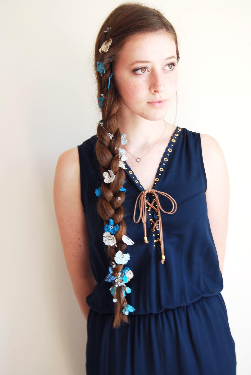 Hair braid tutorial // OYA lace creative wrap $48 // Navy Jumper $98 // Evil Eye necklace $48