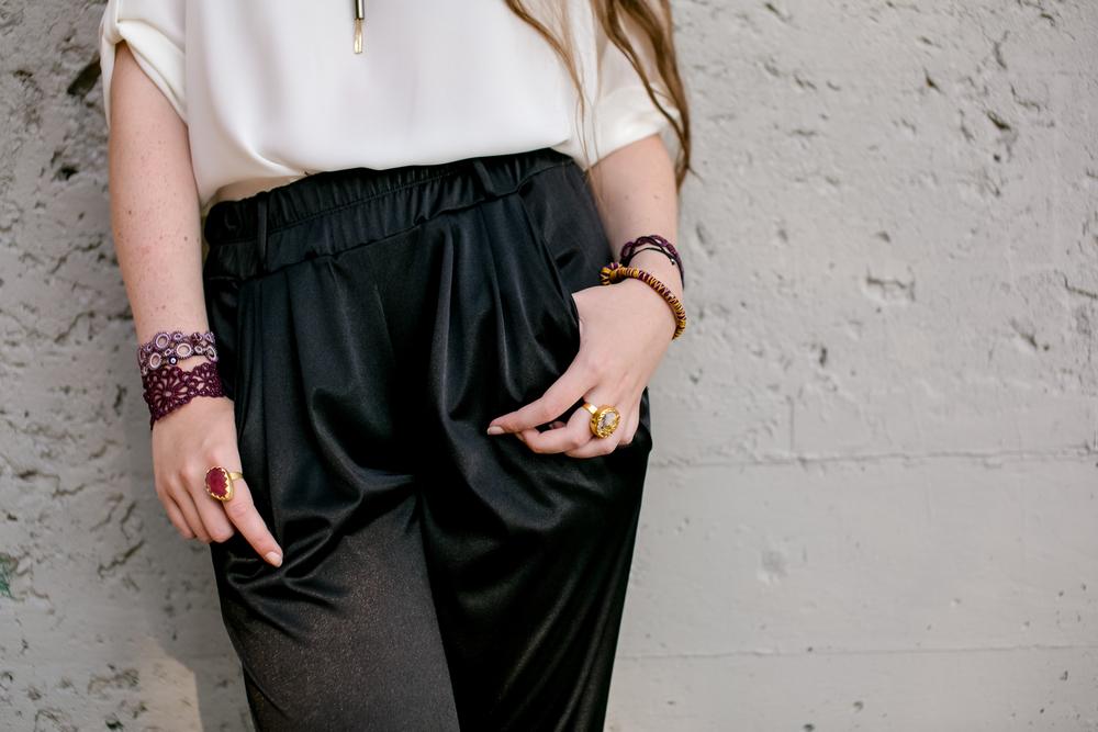 Harem Pants $48 // OYA lace bracelets $28 + $48 // Gold + Stone rings $24 // Evil eye bracelets $10
