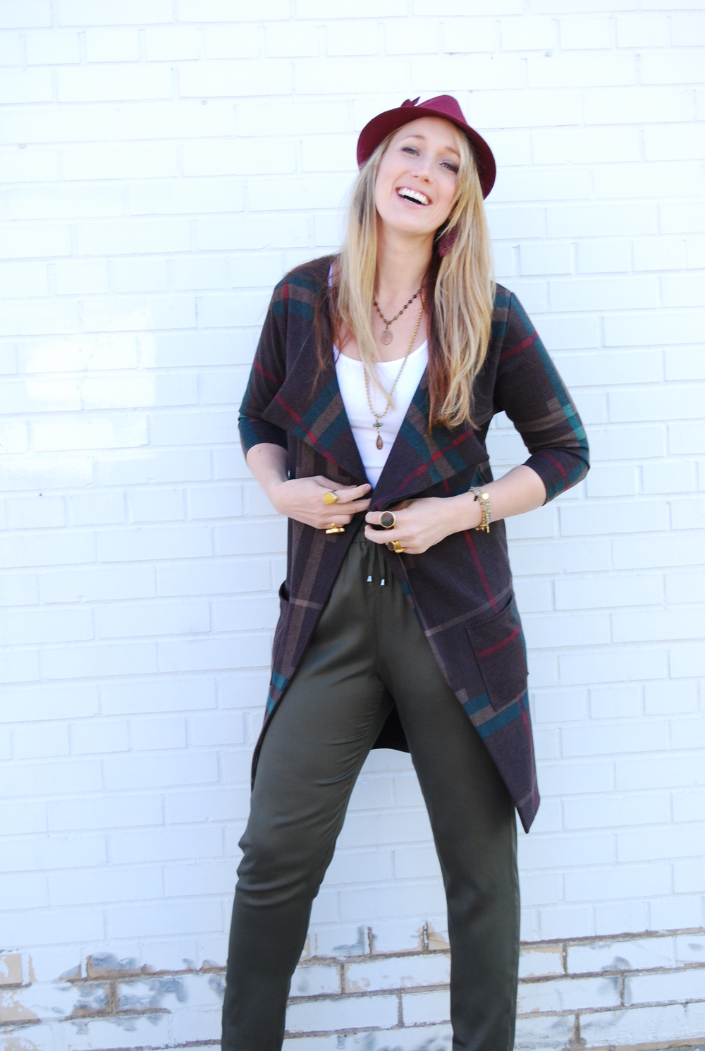 Plaid Cardigan $78 // Jogger pants olive green $68 // Basic tank $13 // Hat $42 // Litany Necklaces // Tess + Tricia wrap bracelets $36 // Gold + Stone rings $24