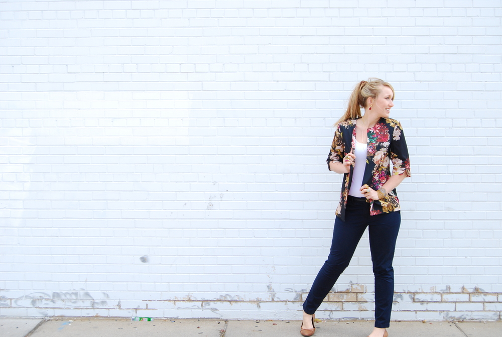 Floral Blazer $128 // Basic tank $13 // Navy Slacks $48 // Gold + Stone earrings $28