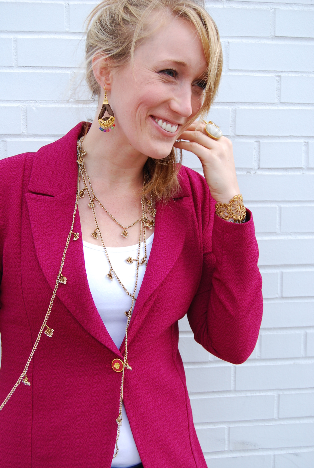 High Low raspberry blazer $78 // OYA lace creative wrap $98 // OYA lace bracelet $48 // Gold + silk earring $32