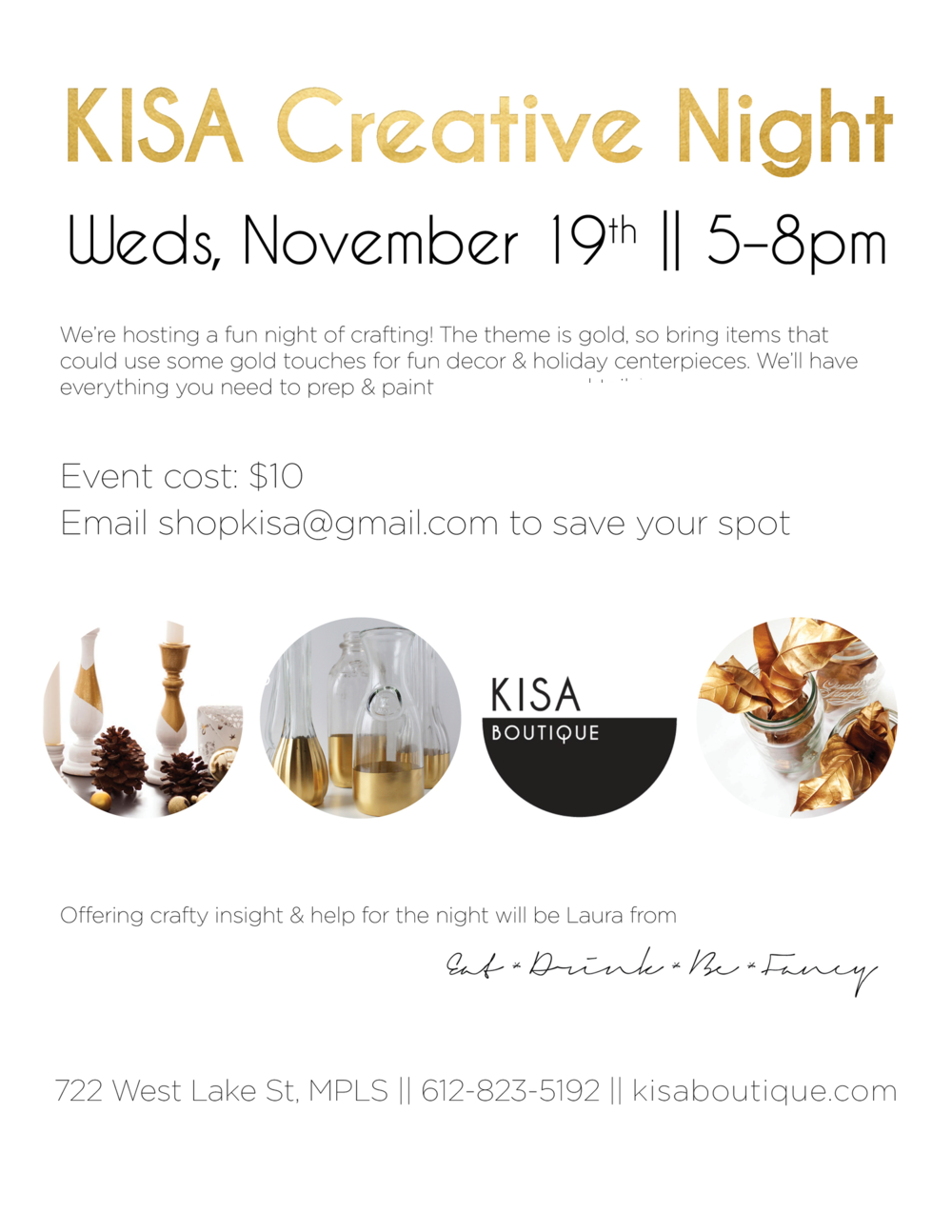 Kisa Creative night craft gold party eat drink be fancy lynlake minneapolis blogger