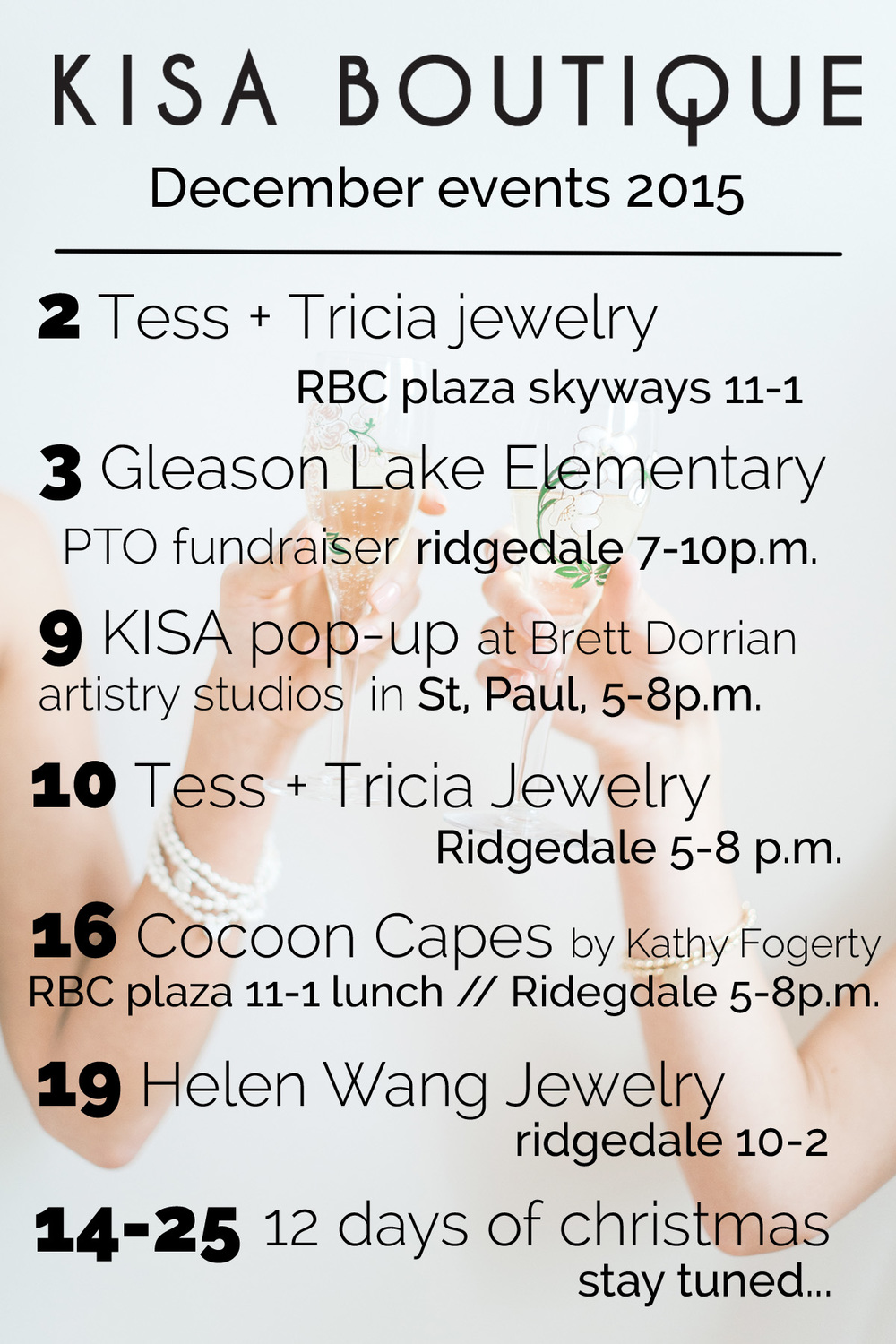 Kisa boutique holiday event guide rbcplazadowntownminneapolis ridegdale