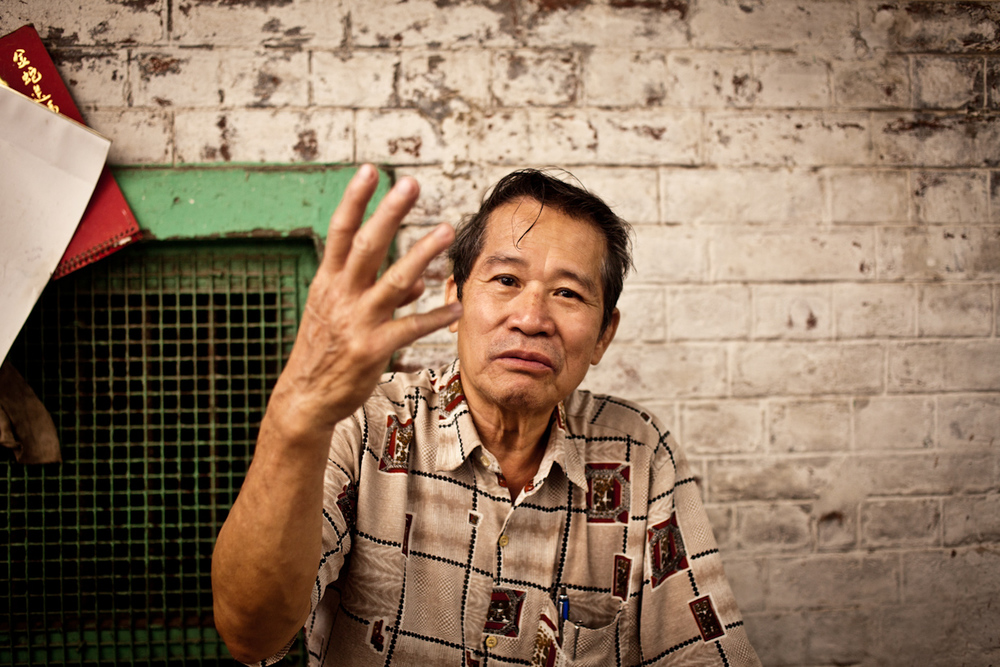 Mr Chung is the eldest survivor of  four generations  who have lived in China Town. His grandparents escaped from China  and fled through Burma to make a new life in India, selling Haka noodles on the street. Mr Chung is the owner of a successful Chinese restaurant. His sons who all live and work abroad.