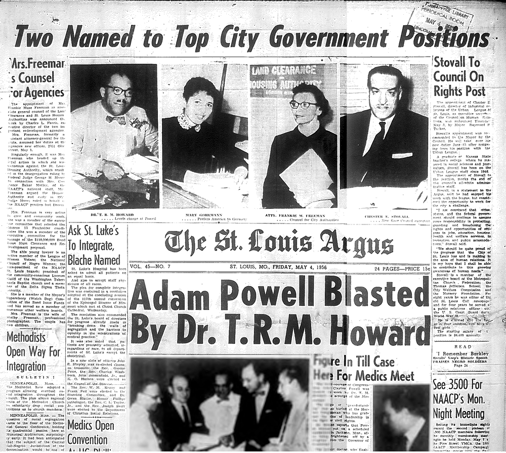 """Two Named to Top City Government Positions: Mrs. Freeman Is Council For Agencies"" of The St. Louis Argus on May 4, 1956. Freeman is the lady with those bomb spectacles."