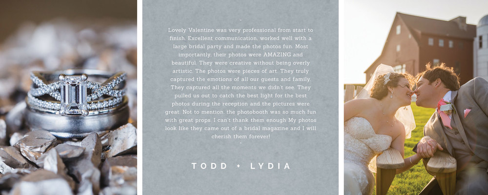 Couple, Lydia and Todd, writes testimonial for boston wedding photography company