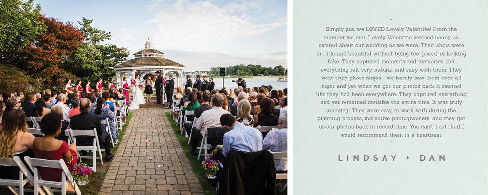 Couple, Lindsay and Dan, writes testimonial for boston wedding photography company