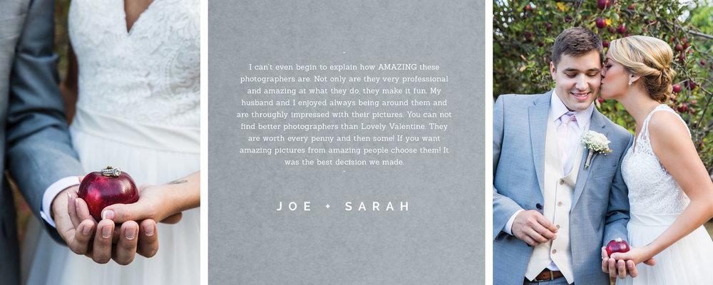 Couple, Joe and Sarah, writes testimonial for boston wedding photography company