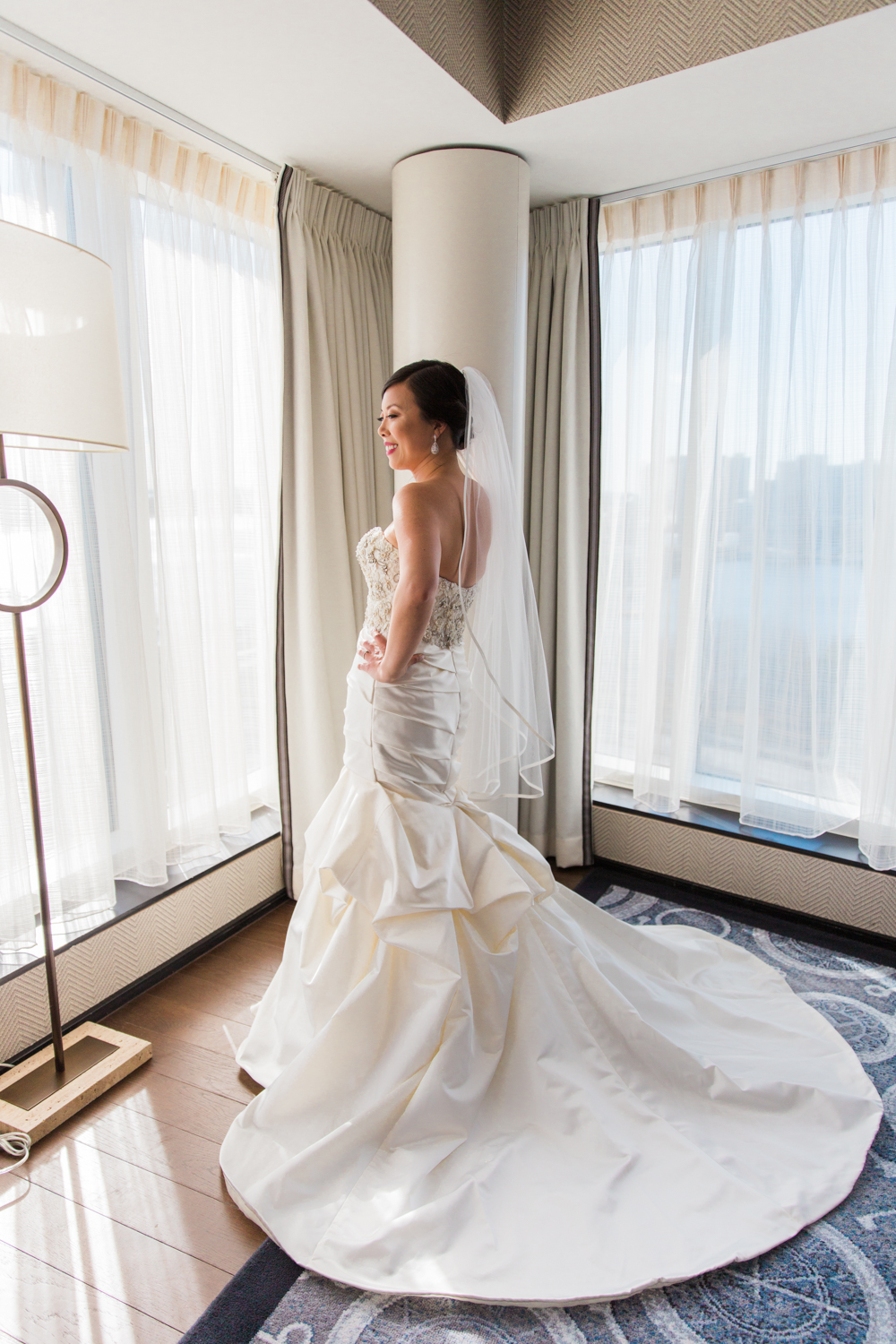 Liberty Hotel Wedding Photography kenneth pool gown bride