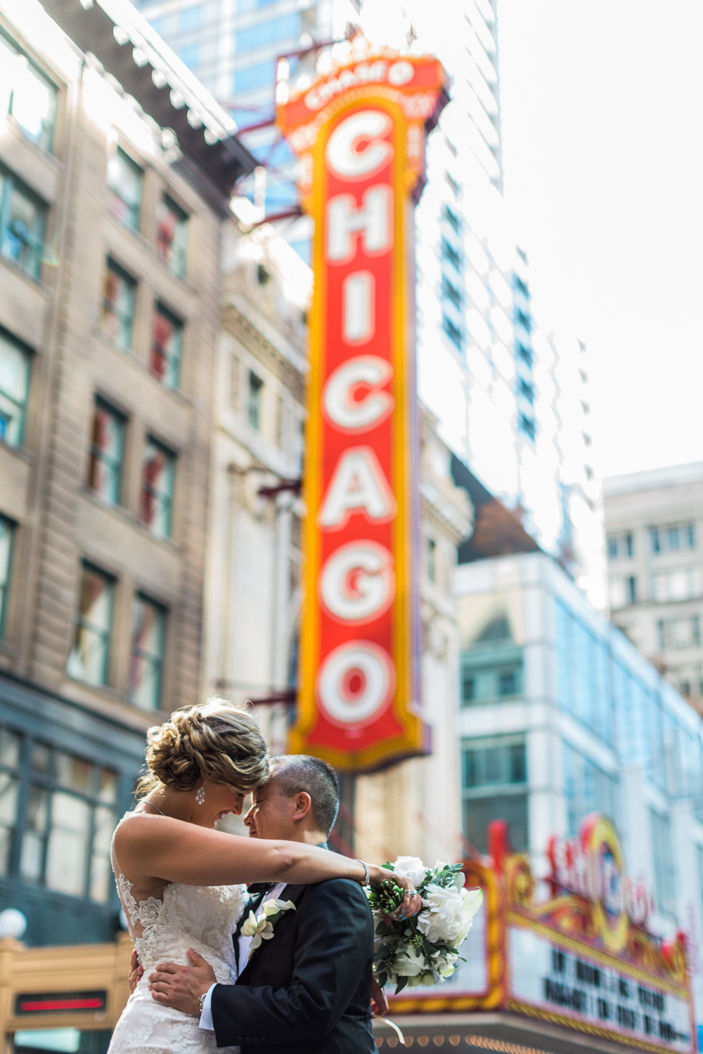 chicago theater destination wedding photos