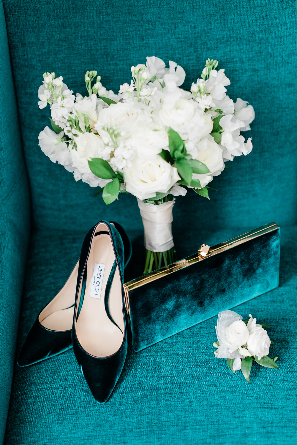 Emerald color jimmy choo shoes and clutch