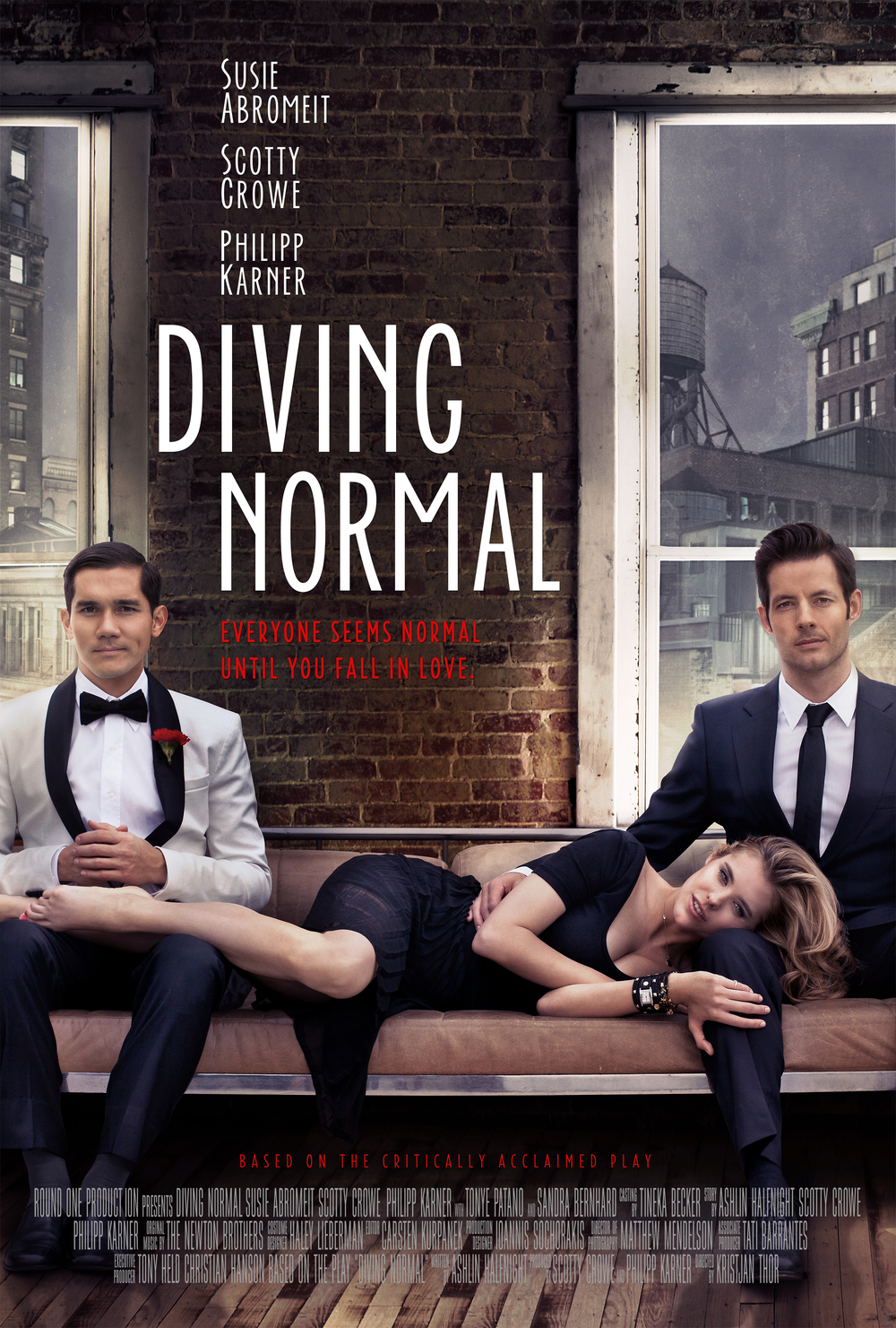 Based on the critically acclaimed play, DIVING NORMAL is about an unlikely love triangle as an ambitious Brooklynite graphic novelist and his peculiar neighbor both fall for the same beautiful, but broken girl.