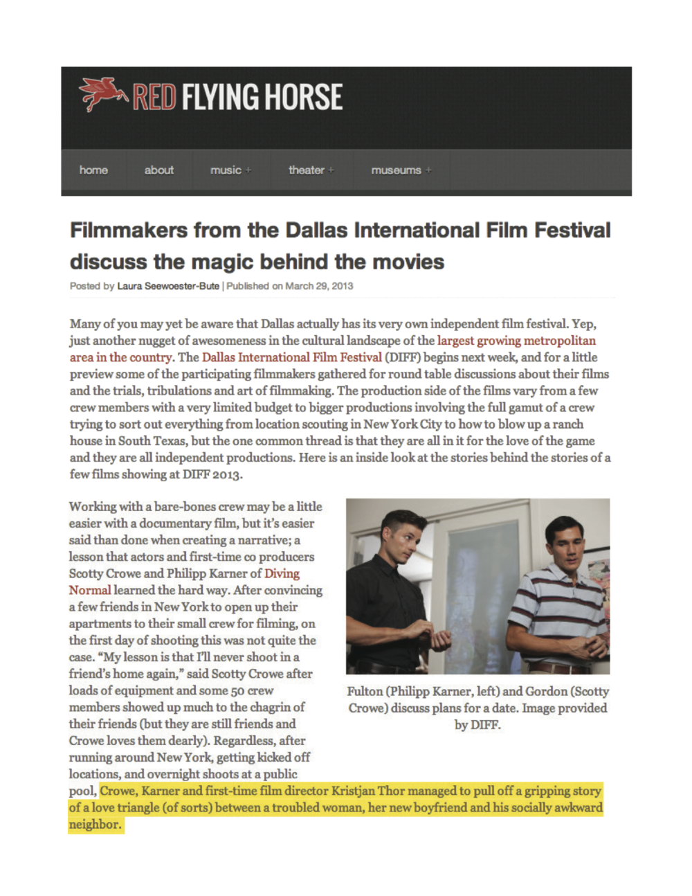 "Red Flying Horse: ""Filmmakers at the Dallas International Film Festival discuss the magic behind the scenes"""
