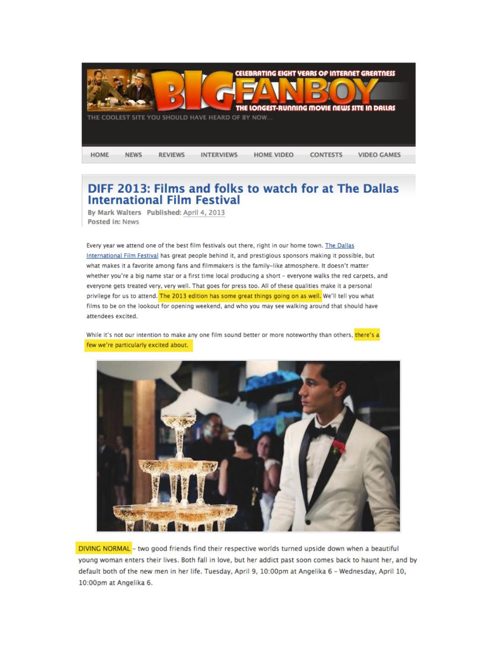 Big Fan Boy: 2013 Dallas International Film Festival Preview