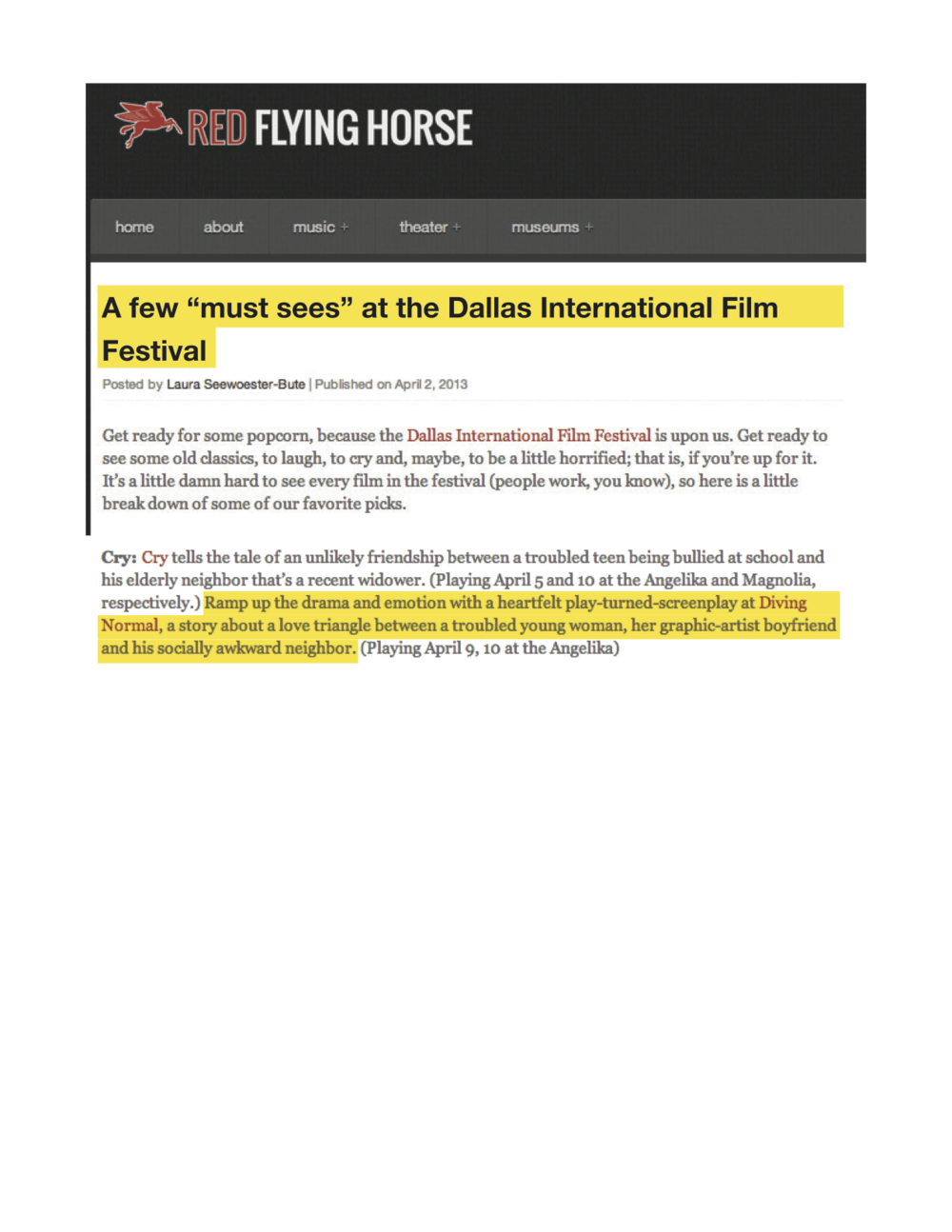 "Red Flying Horse: ""A few 'must sees' at the Dallas International Film Festival"""