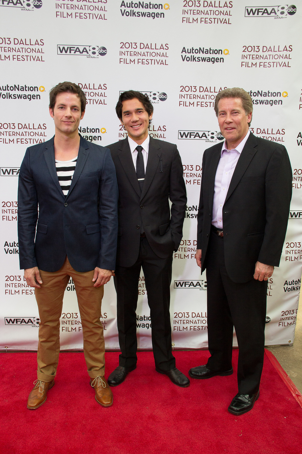 Philipp Karner (Producer/Talent), Scotty Crowe (Producer/Talent) and Keith Buterbaugh (Talent) of DIVING NORMAL on the red carpet at The Dallas International Film Festival 2013 at the Angelika! Photo by Lindsay Jones