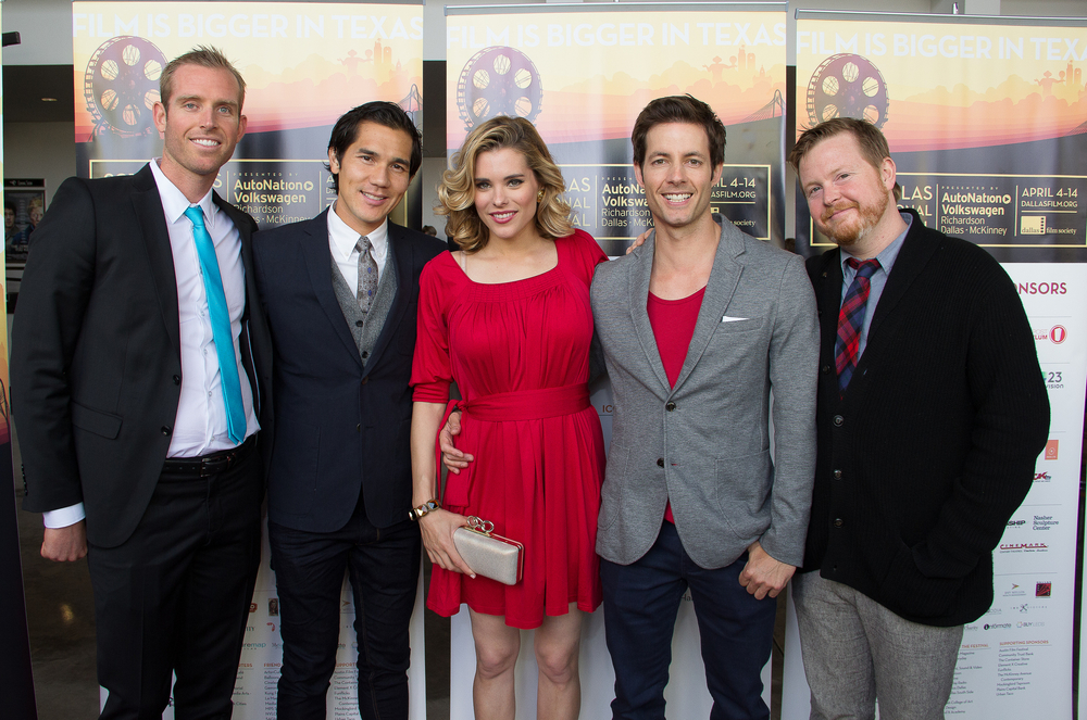 Christian Hanson (Executive Producer), Scotty Crowe (Producer/Talent), Susie Abromeit (Talent), Philipp Karner (Producer/Talent), Kristjan Thor (Director) of DIVING NORMAL on the red carpet for the Dallas International Film Festival at The Angelika Film Center! Photo by Lindsay Jones.
