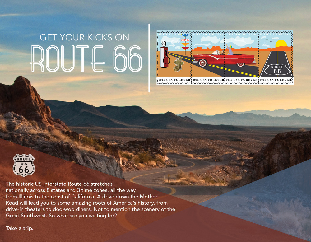 This was a project to create a cohesive stamp design for the United States Postal Service. The requirements of this assignment matched those of the USPS Postage Stamp Standards, including that the stamp reflect a significant American cultural event, tradition or movement. Inspired by my upbringing in the Southwest, I chose to showcase the world famous Route 66.