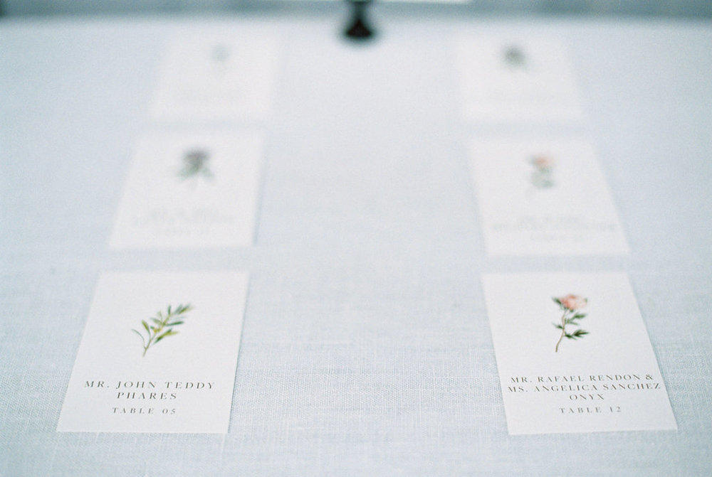 Custom escort cards for a spring farm wedding, combining classic style with the natural environment.