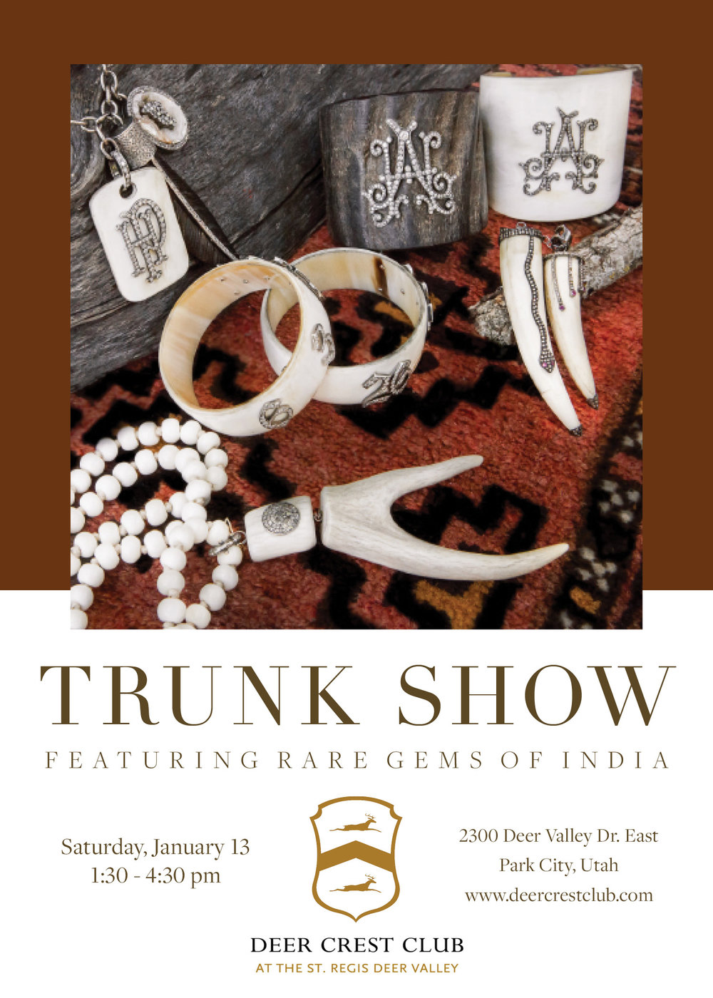 Trunk show invitation for jewelry maker client.
