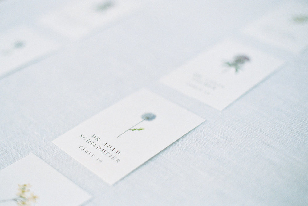Custom escort cards for a spring farm wedding, combining elegant style with botanical touches.