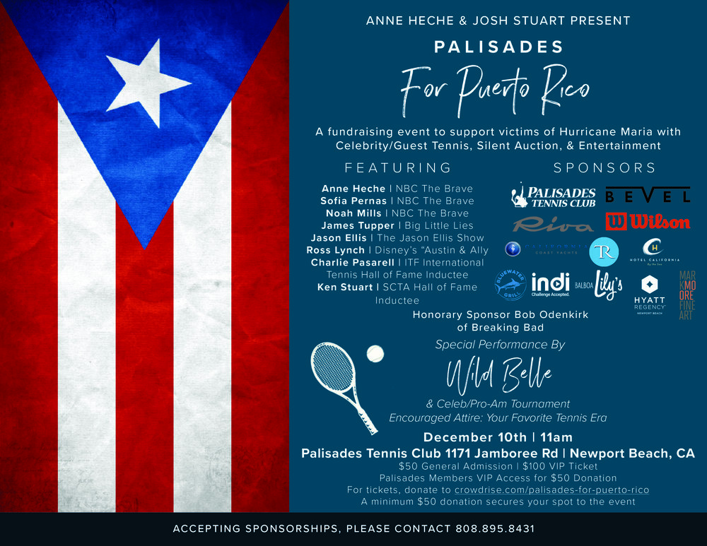Promotional poster for Palisades for Puerto Rico tennis tournament & benefit event.