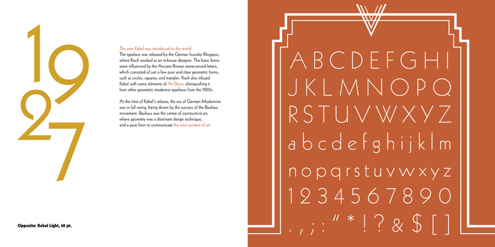 A selection from a Font Concentration on the typeface, Kabel.