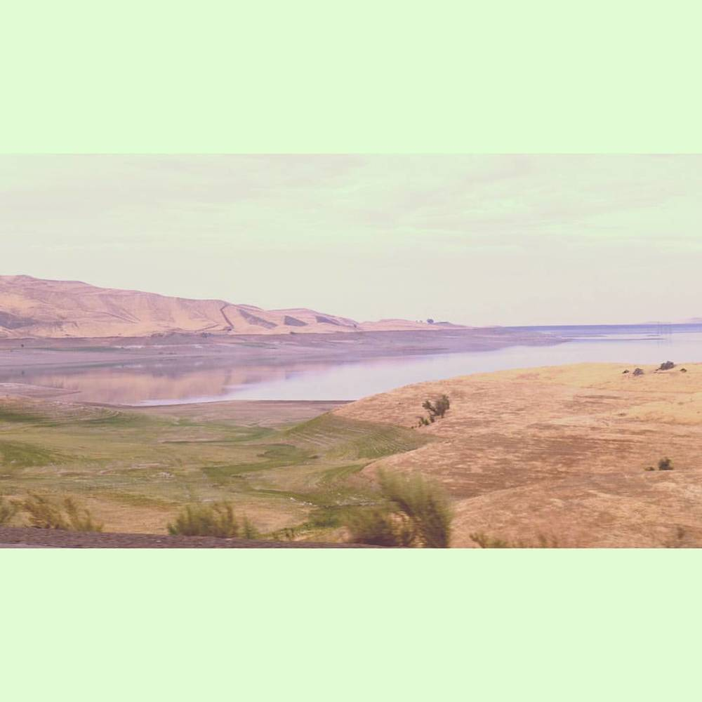 The San Luis Reservoir.  Green lines where the water used to reach.