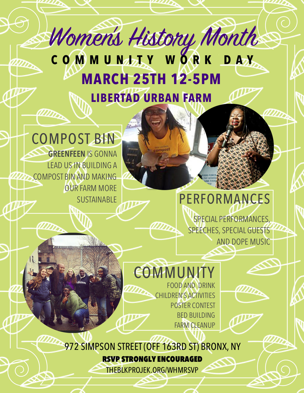 Honoring Women - What better way to commemorate Women's History Month then by participating in a day pf service on a women lead urban farm! Join us March 25th, 2018 from 12-5 PM at Libertad Urban Farm to officially kick off the season. It will be a day of performances, great music, a dope poster contest, yummy food and centering divine feminine energy.RSVP is strongly encouraged and gives us the opportunity to match you with an appropriate LUF farmer.