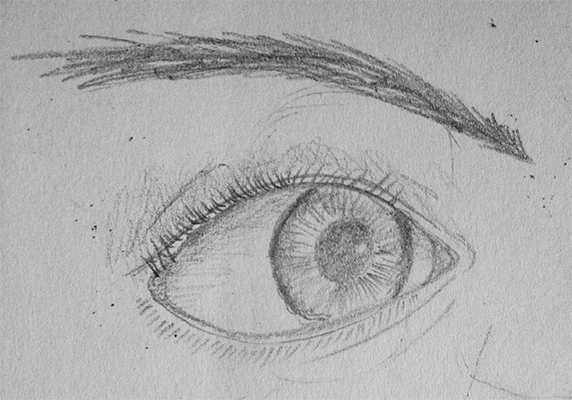 Eye render - the eye is a bloody hard thing to draw, I remember really focusing on all the shadowing and the darkness around the edge of the iris down