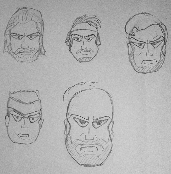 A goofy one to go out on - character faces - this was me trying to balance toughness and cartooniness and achieving something more akin to complete dopiness. The one on the upper right looks like Abe Lincoln starring in Grease.....Id actually watch that.