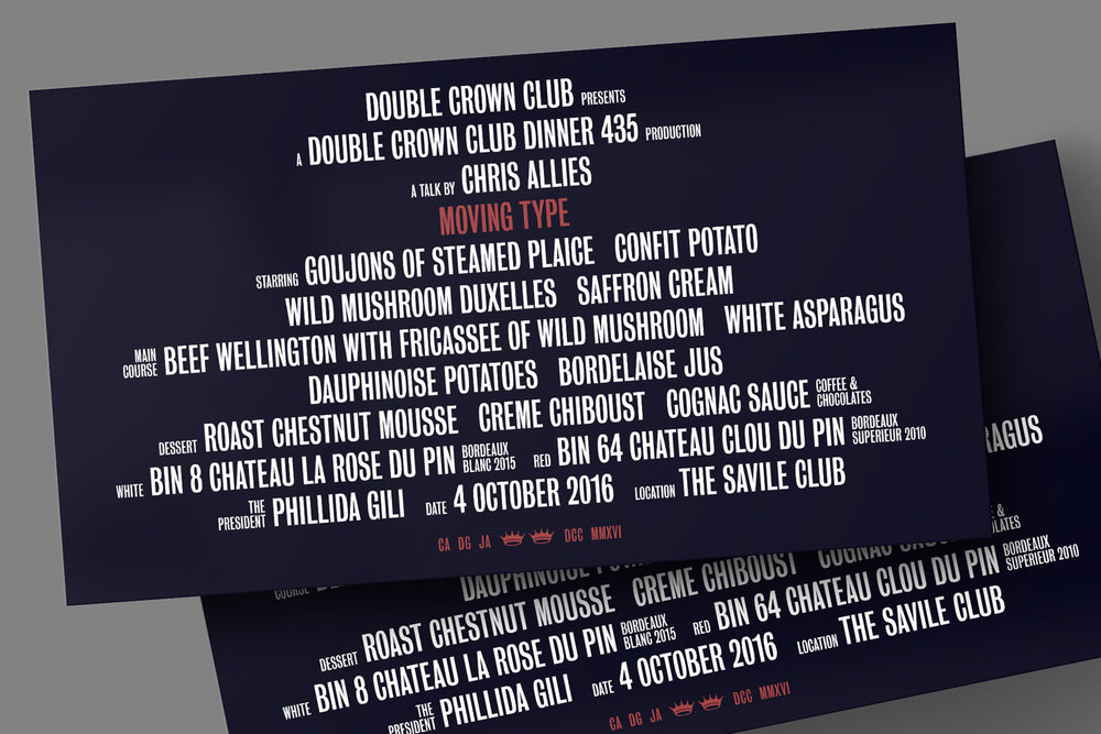 A menu for a Double Crown Club dinner. Assisted by Daisy Gili of the London Film School and speaker Chris Allies.