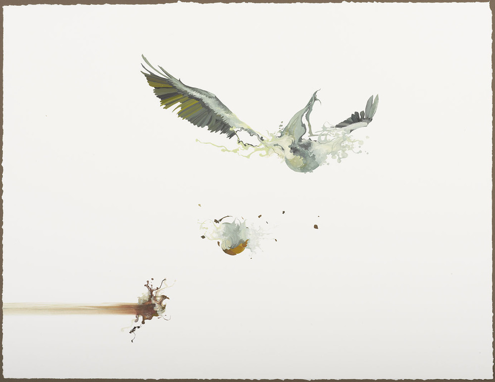 Nissa explores the delicacy of life, flight and chaos in her series in gouache. It is this particular medium, the watercolor qualities mixed with richer opacity and higher pigment ratio, that allows for the attention to detail and lucidity to come through in these ethereal yet edgy abstractions.