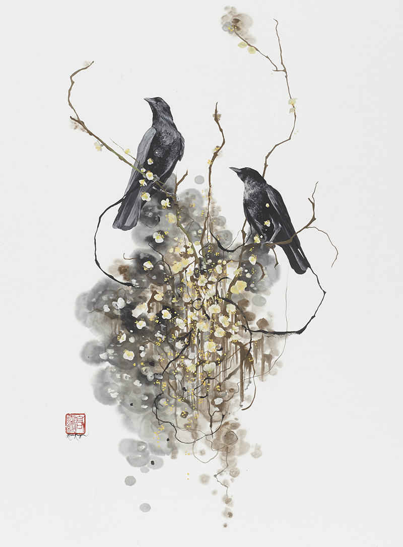 """About the Artist - """"Kauppila's fascination with birds began with her childhood in rural Vermont. They represented to her a kind of freedom that humans could only emulate and watch from afar. This awe for the natural world led her in part to gravitate towards classical Chinese ink painting, incorporating its line and form as well as mastering it as a medium…"""""""