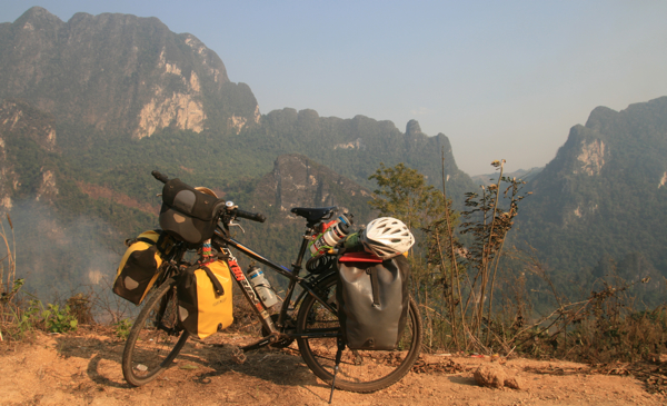 My bike and the Laos mountains
