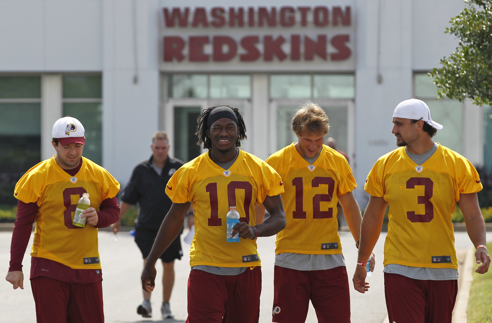 (From left to right) Rex Grossman, Robert Griffin III, Kirk Cousins, Jonathan Crompton (Courtesy of the Washington Post)