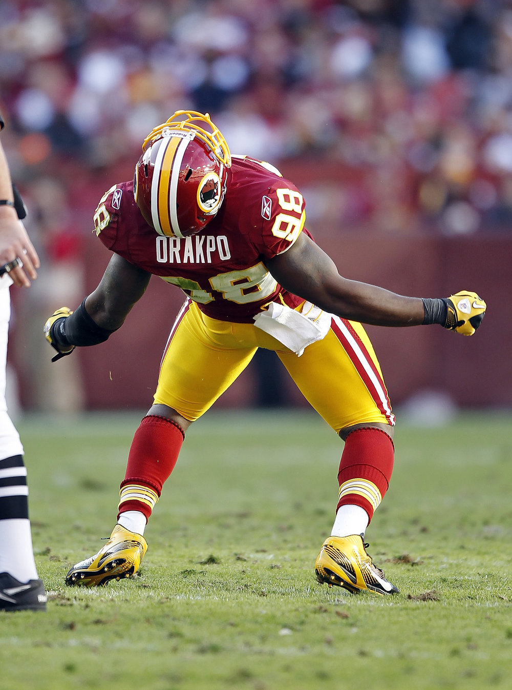 Outside linebacker Brian Orakpo has 29.5 careers sacks in 49 career games played.
