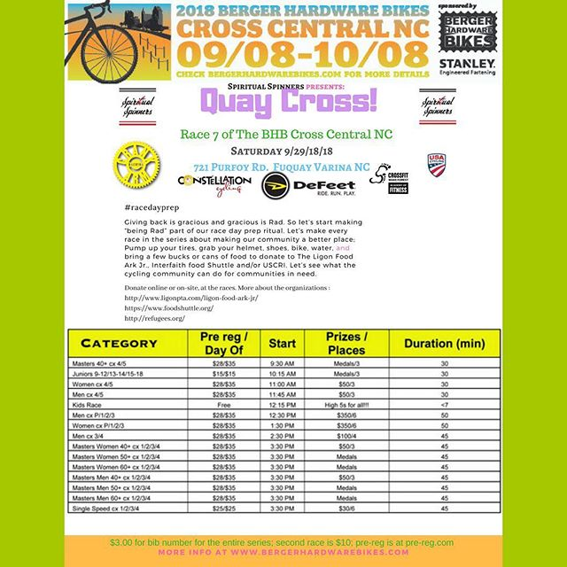 Tomorrow! QUAY CROSS!!! Swipe thru for deets. Thanks to the Spiritual Spinners for sponsoring and hosting this race, along with series sponsors @officialstanleytools @defeet @crankarmbrew #constellationcycling @cfwakeforest See you all out there tomorrow!