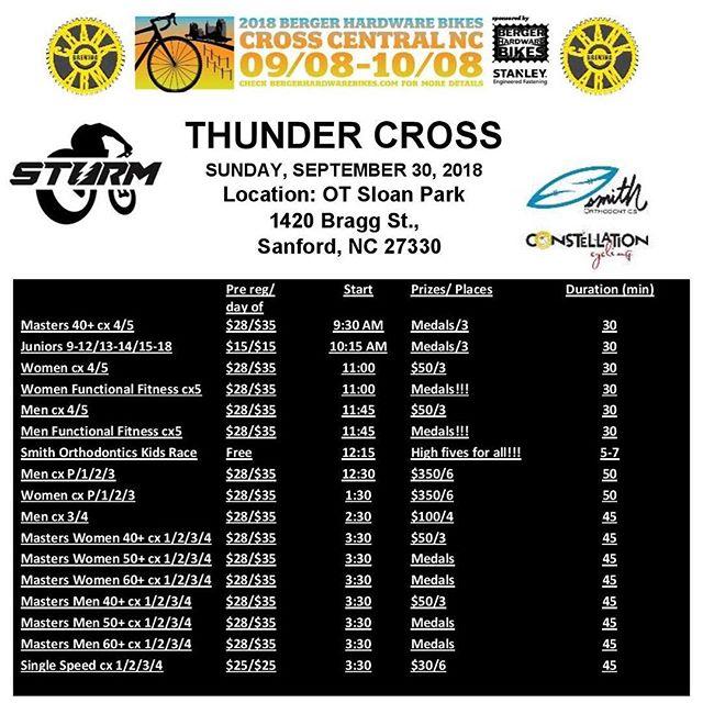 🌩⚡️THUNDER CROSS⚡️🌩 Sunday in Sanford! pre-reg til midnight! Don't forget your #racedayprep 🥫💵