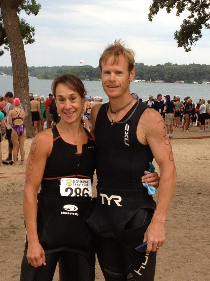 My sister Sarah and I after our first triathlon ever at Lake Okoboji, IA.