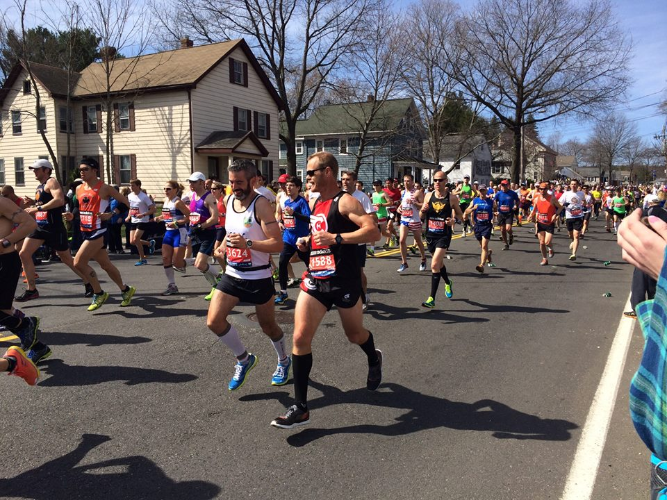 Jonathan Hill and I cruising along and chatting it up near Ashland.  He killed it with a 2:45 marathon.