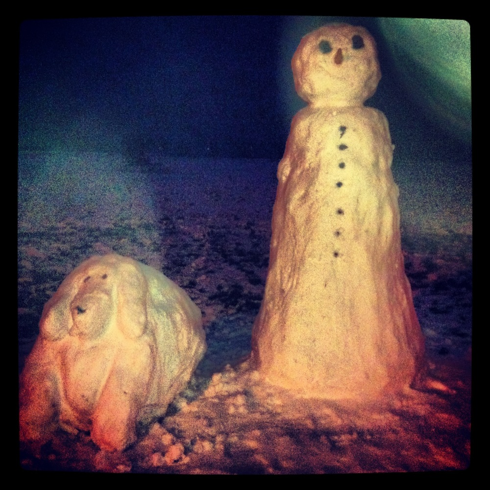 2013 -- Snowman & Snowdog. Frozen England.