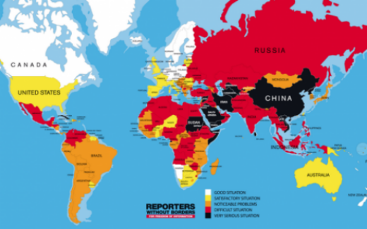 Reporters without Borders: Map of where press isn't free.