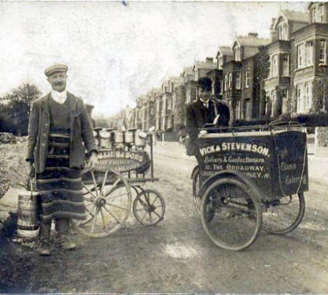 Panadero y lechero en Londres a principios del siglo XX